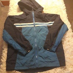 LL Bean rain jacket boys M 10 12 blue zip